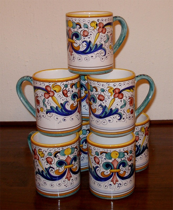 deruta italy pottery hand painted xxl ricco mugs 8 pcs ebay. Black Bedroom Furniture Sets. Home Design Ideas