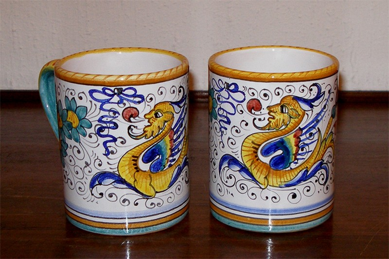 deruta pottery hand painted raffaellesco xxl mugs 8 ebay. Black Bedroom Furniture Sets. Home Design Ideas