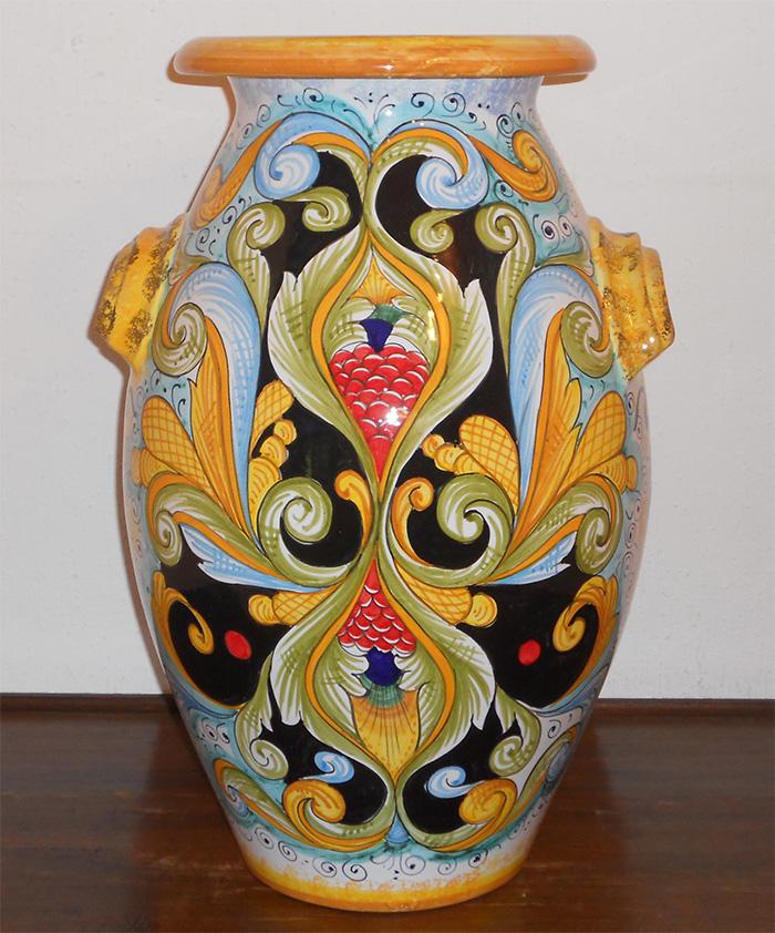 DERUTA ITALIAN POTTERY FLOOR VASE UMBRELLA STAND | eBay on orange floor vase, mid century orange ceramic vase, floor candle holder vase, wicker floor vase, floor urn vase, floor glass vase,